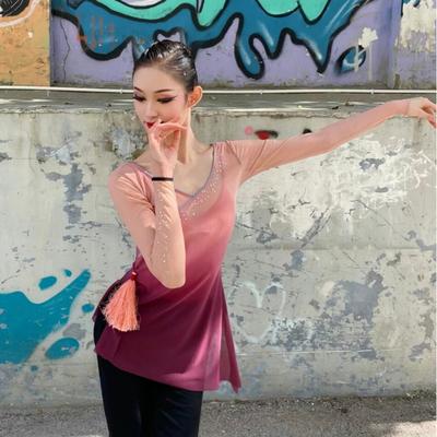 古典舞身韵纱衣舞蹈练功服中国舞艺考渐变女上衣芭蕾演出表演民族