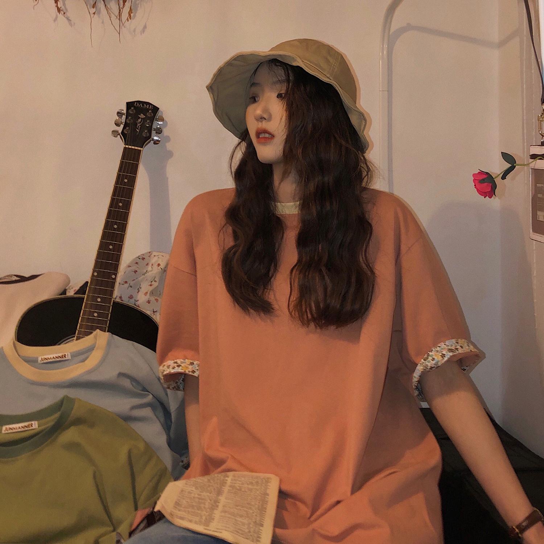 jmwomen港风宽松中长款T恤裙女夏季2020新款韩版显瘦短袖体恤上衣图片