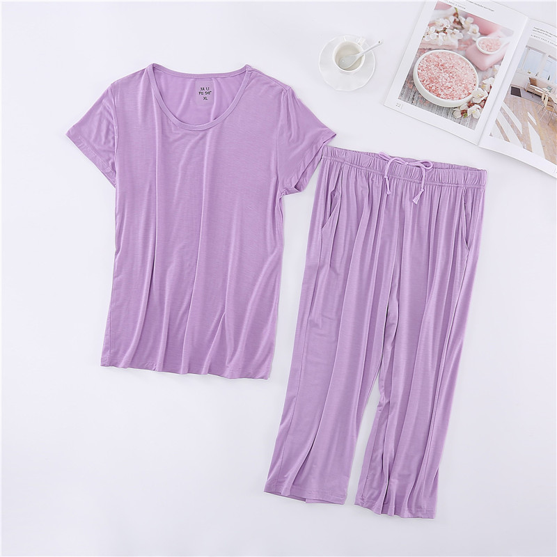 Womens short sleeve Capris suit loose thin size oversized fat mm half sleeve pajamas for middle-aged and elderly