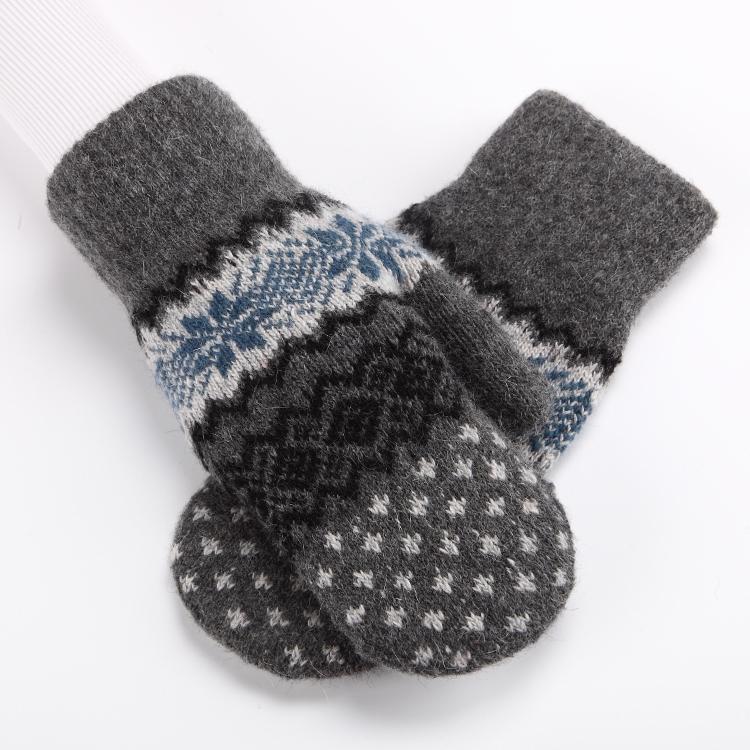 New student gloves female winter wool Korean version lovely male even finger bag finger thickening Plush warm couple