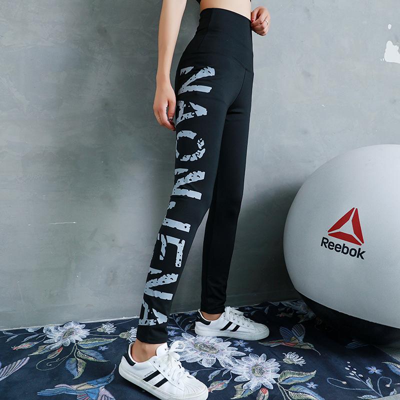 瑜伽裤女紧身弹力高腰收腹提臀裤跑步运动夏秋季薄款字母健身服女(非品牌)