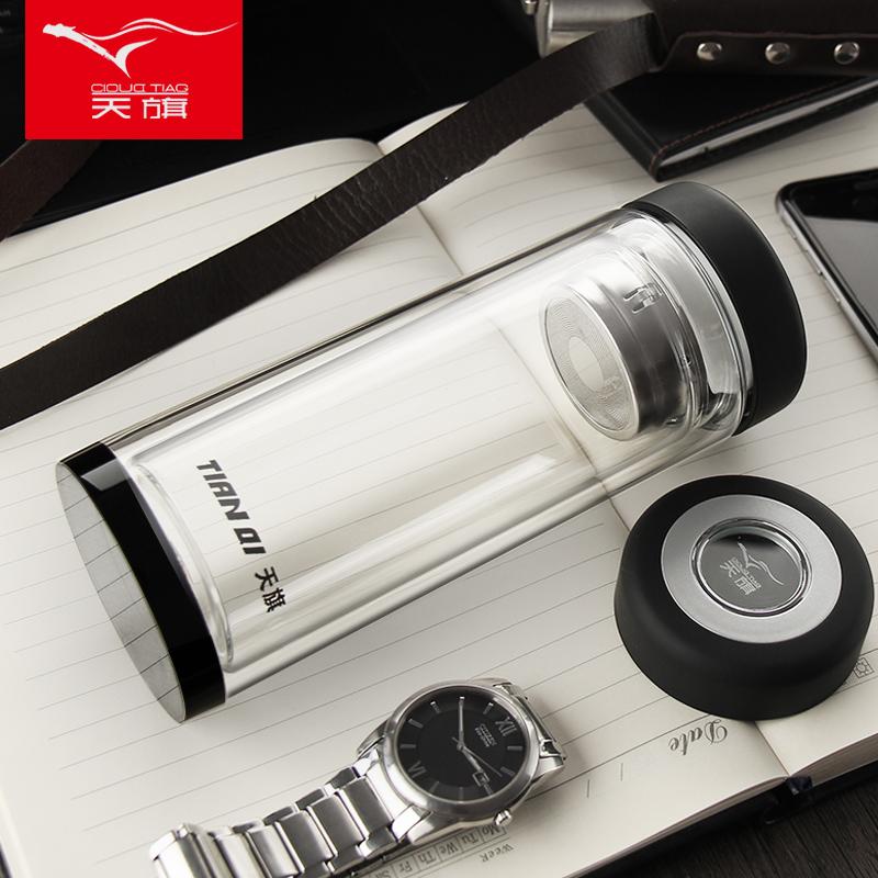 天旗雙層玻璃杯加厚男女辦公家用大水杯子耐熱泡茶杯定製500ml