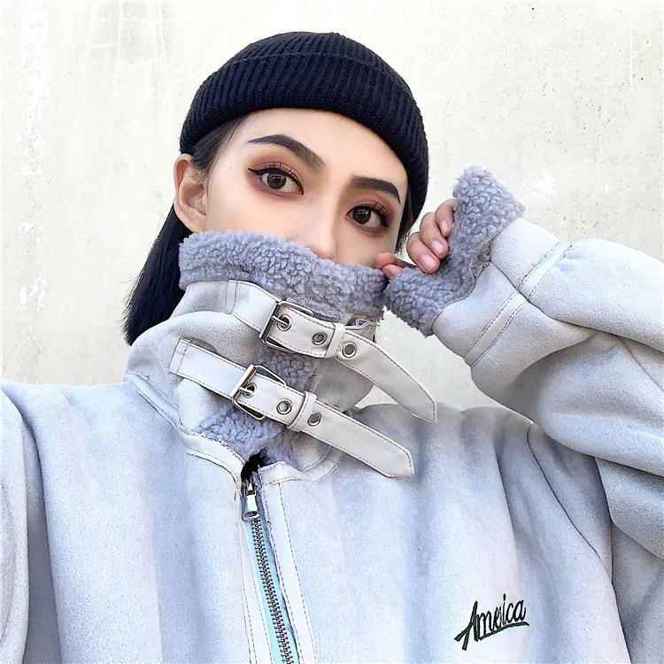2018冬季新款韩版原宿风宽松bf仿羊羔毛机车服短款加厚棉袄外套女