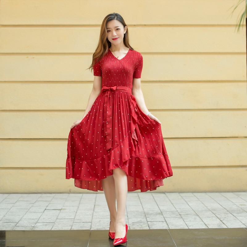 初晓皮草时尚魔术连衣裙2020年新款洋气百搭腰带伸缩修身显瘦潮流