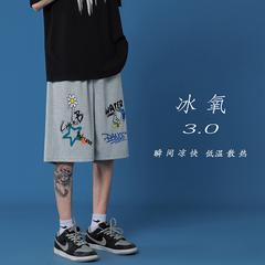 2021夏季百搭涂鸦五分裤男宽松直筒休闲裤D329-1-QM1033-P35控48