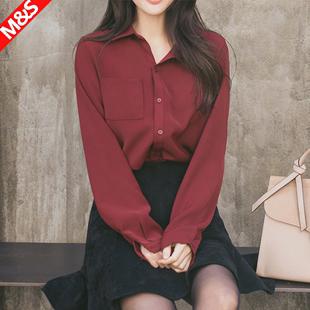 酒红色雪纺加绒衬衫女黑长袖保暖冬季韩版宽松长袖加厚白色衬衣女价格