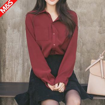 酒红色雪纺加绒长袖冬季韩版衬衫