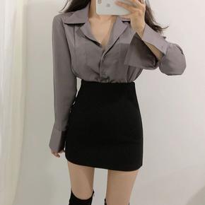 韩版女秋冬新款纯色包臀裙短裙高腰毛呢半身裙显瘦百搭a字一步裙