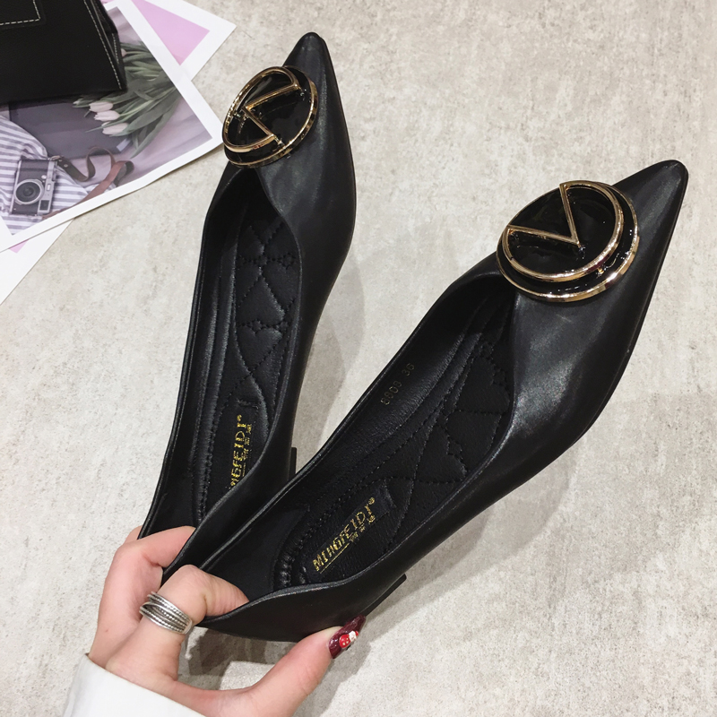 Single shoe womens flat sole soft sole large lady shoes 2020 Korean spring all-around 40-43 womens shoes pregnant womens shoes