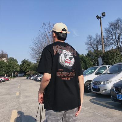 2019夏季新款韩版男士休闲上衣个性印花圆领宽松短袖T恤T161-P23