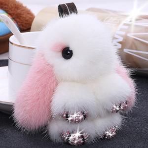 水貂毛绒皮草小号兔子女包包挂件可爱装死镶钻手机迷你汽车钥匙扣