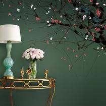 新中式美式水墨梅花定制墙布壁画客厅书房卧室背景墙纸春色艺速
