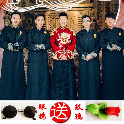 中式婚礼伴郎服男唐装大褂民国风古装长衫兄弟团礼服结婚服装夏秋