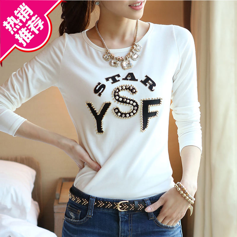 2019 spring and autumn Korean women's pure cotton long sleeve T-shirt repair white bottoming shirt slim and slim, wearing autumn clothes outside