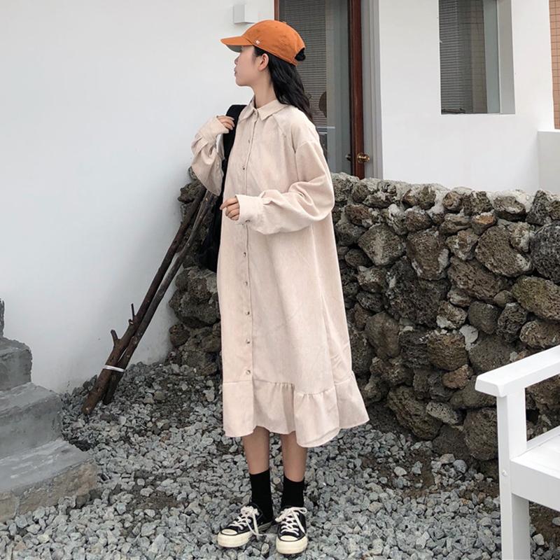 秋冬新款韩版学院风长袖A字裙显瘦复古方领荷叶边衬衫连衣裙女装