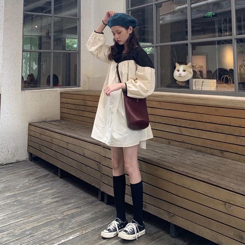 连衣裙女2020新款韩版chic宽松拼接可爱娃娃裙撞色减龄中长款裙子
