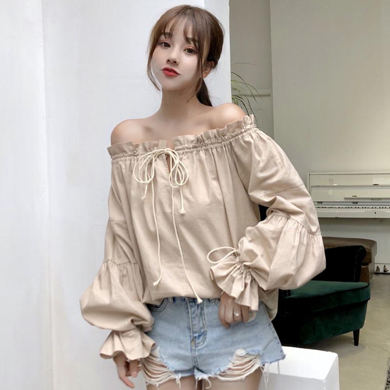 新款韩版气质一字领露肩多种穿法绑带灯笼袖纯色套头衬衫上衣女夏