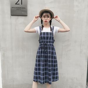 学院风格子背带连衣裙女百搭宽松收腰显瘦中长款背带裙,女装连衣裙,志兵服饰