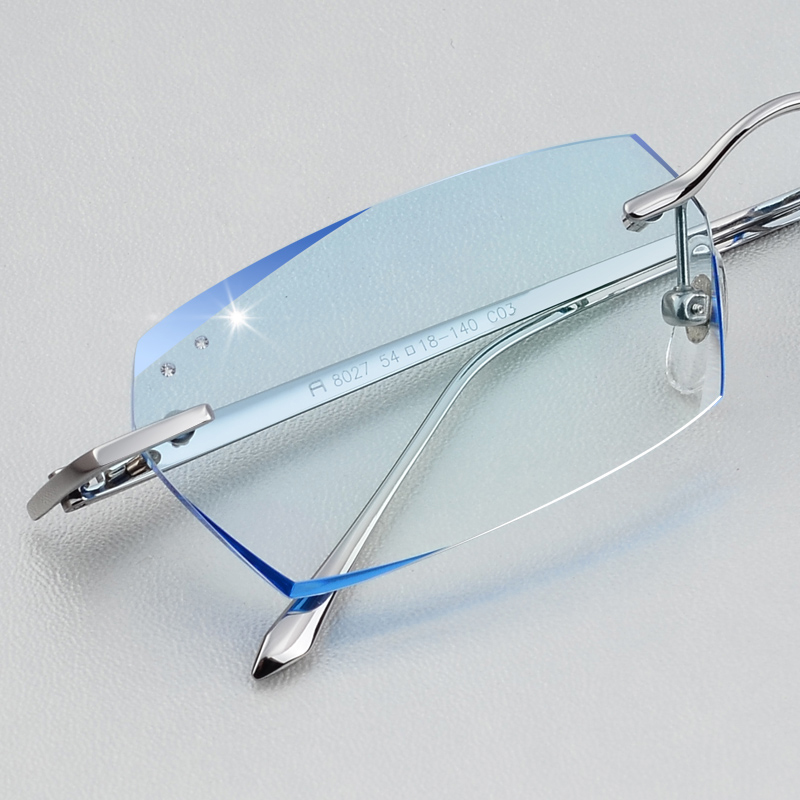 With short-sighted glasses finished mens frameless pure titanium ultra light no screw design spectacle frame, glasses frame with degree
