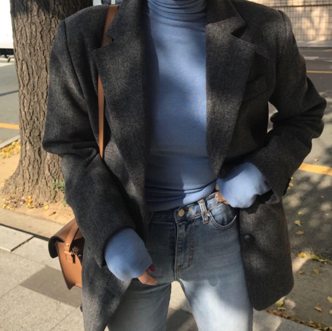 现货实价 韩国ins人气款 休息纯净高领套头打底衫