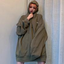 原宿大码长袖女韩版bf风灯笼袖纯色T恤秋季宽松连帽中长款上衣t