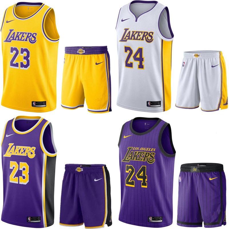NBA球衣刺绣湖人队23号JAMES詹姆斯篮球服套装24号KOBE科比城市版