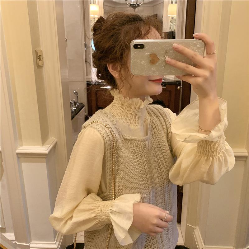 马甲衬衫针织背心套装女2019秋季新款时尚气质高领上衣洋气两件套