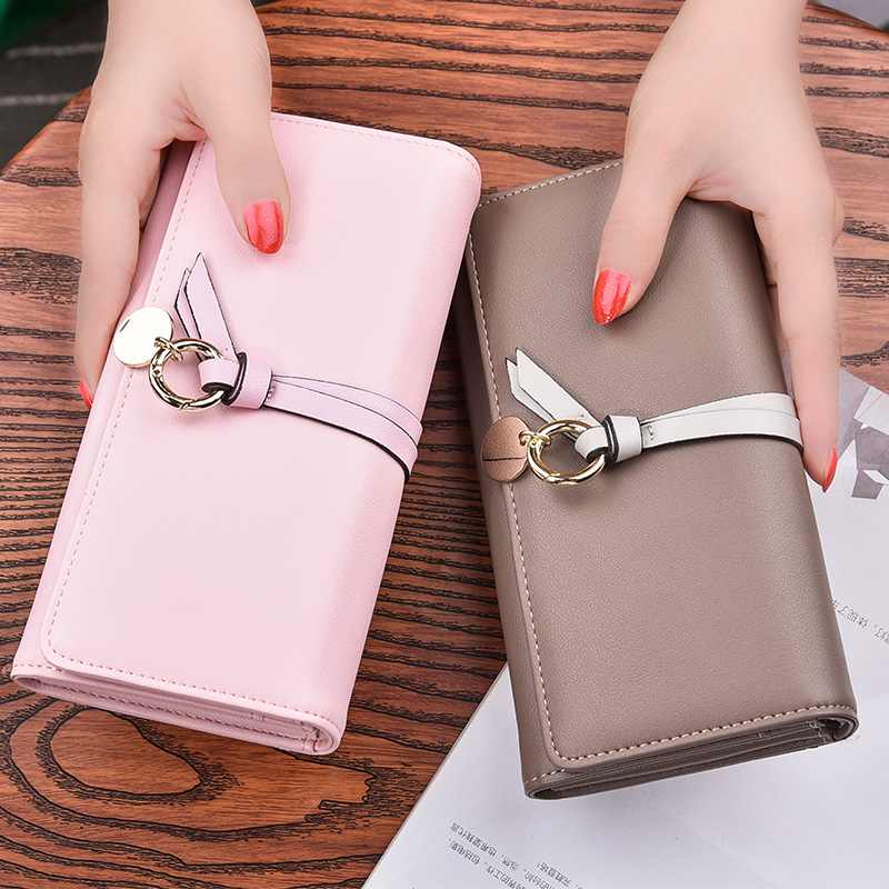 2018 new womens Long Wallet solid color Korean 30% off handbag large capacity womens wallet student simple Wallet