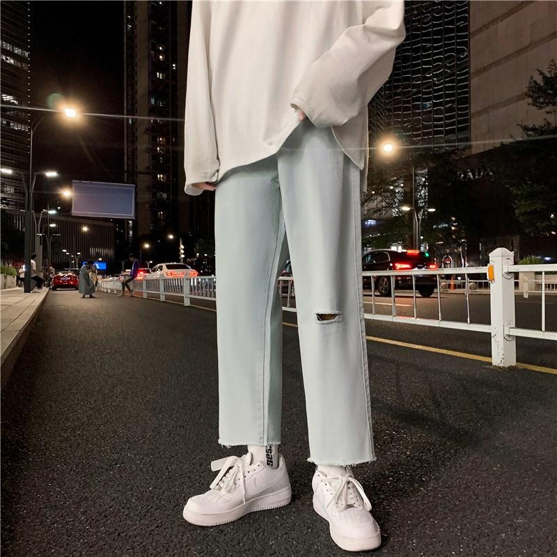 男新款港风潮精品牛仔裤破洞休闲女裤子714-1-x910-p45G款