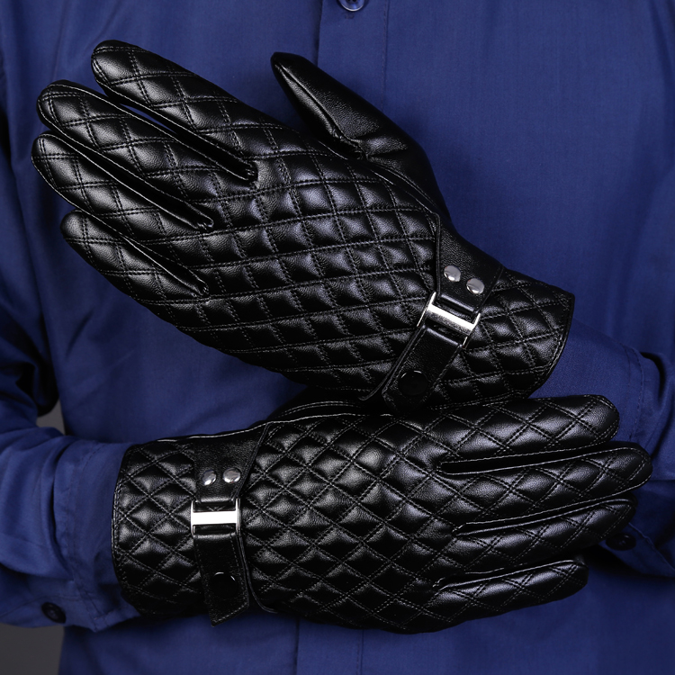 Mens Leather Gloves Winter Plush warm touch screen gloves motorcycle windproof business leather gloves men
