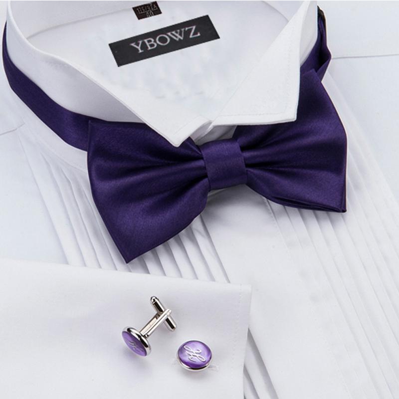 New performance mens Cufflinks Wedding mens Long Sleeve White swallow collar dress shirt wedding Tie Shirt