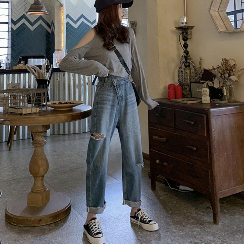 大码女装秋装2020新款破洞牛仔裤女胖mm韩版九分裤宽松复古bf风潮