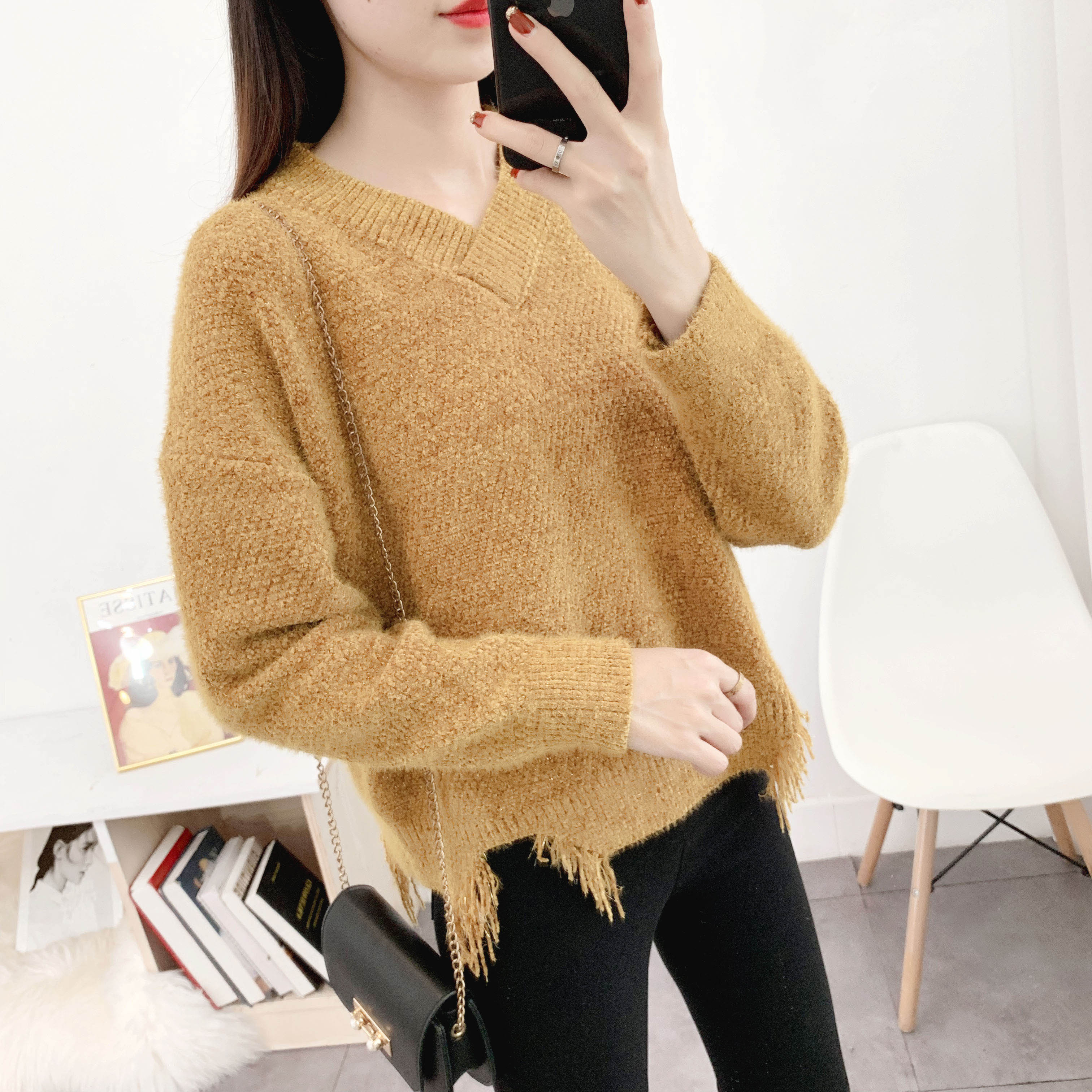 Autumn and winter 2020 new chenille sweater long sleeve Pullover round neck V-neck warm top