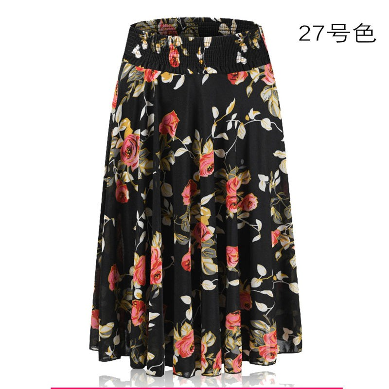 Summer half skirt mother dress large size medium and short skirt middle-aged and elderly ice silk sun skirt A-line skirt elastic waist dance skirt