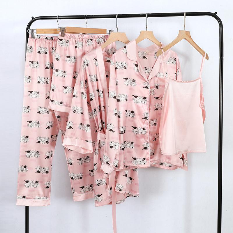 春秋季睡衣女士韩版休闲开衫仿真丝五件套长袖背心睡袍家居服套装