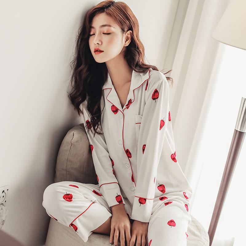 秋冬季韩国金丝绒睡衣女士印花长袖薄款开衫时尚休闲秋冬韩国绒