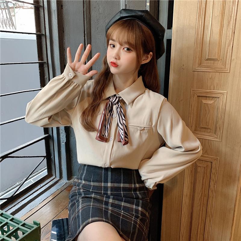 控5 实拍新款韩版豹纹纹丝巾长袖打底衬衫上衣 3914#