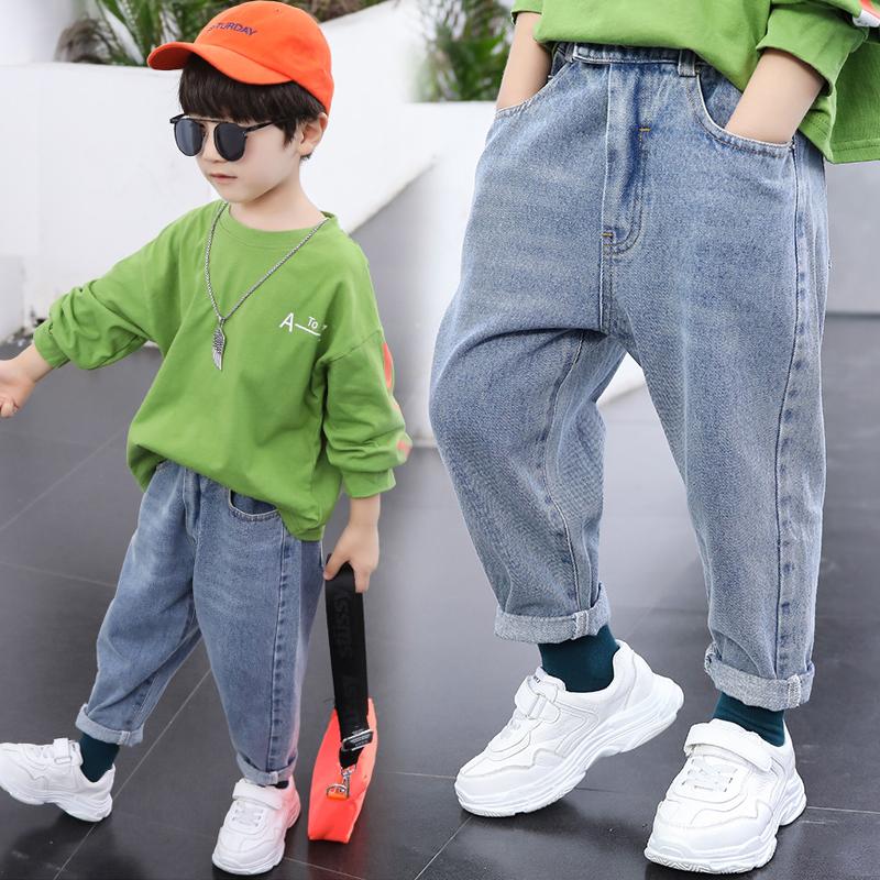 儿童牛仔裤秋款2021男童老爹裤宽松薄款浅色中童小童男宝裤子春秋