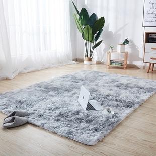 北欧ins扎染渐变地毯网红客厅飘窗长毛绒卧室满铺可爱床边毯定制