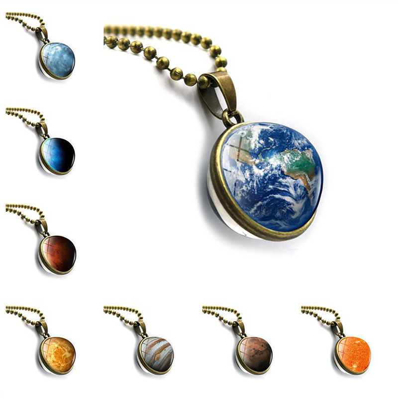New accessories Galaxy planet double sided glass ball pendant time gem necklace jewelry European and American Jewelry