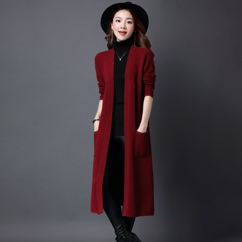 Spring and autumn wear knitted cardigan womens knee length Korean version medium length loose versatile ice silk with sweater long coat fashion