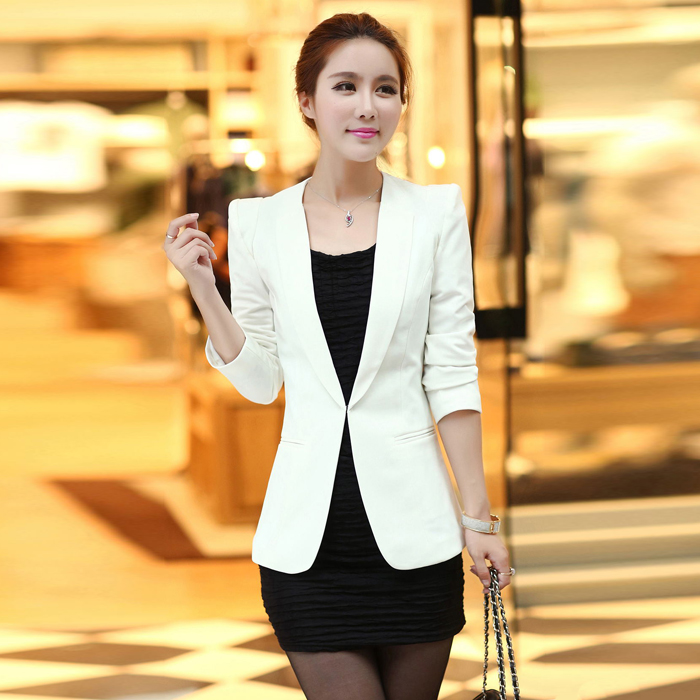 Womens Blazer Mid long 2020 spring and Autumn New Korean slim long sleeve casual suit top fashion