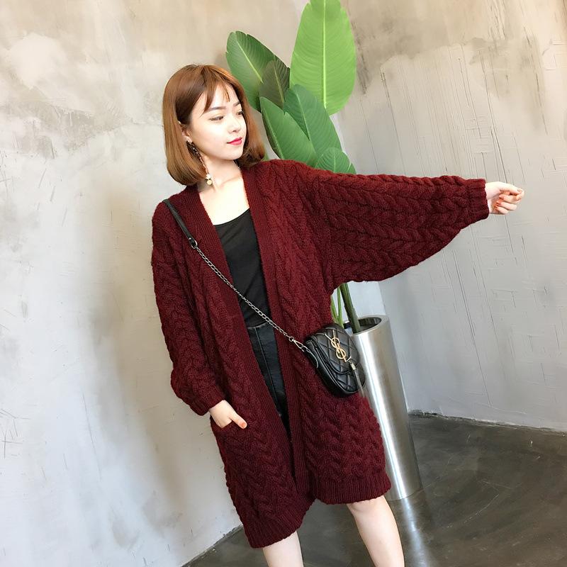 2017冬季女式外套新品蝙蝠型中长款单件加厚拼接均码毛衣推荐销售