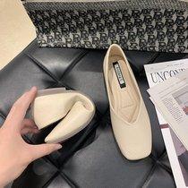 2021春季新款平底单鞋女韩版百搭方头浅口一脚蹬奶奶鞋瓢鞋豆豆鞋