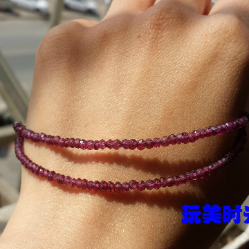 A set of natural non burnt Ruby bracelet with 3mm beaded bracelet, elegant and low-key gift Necklace