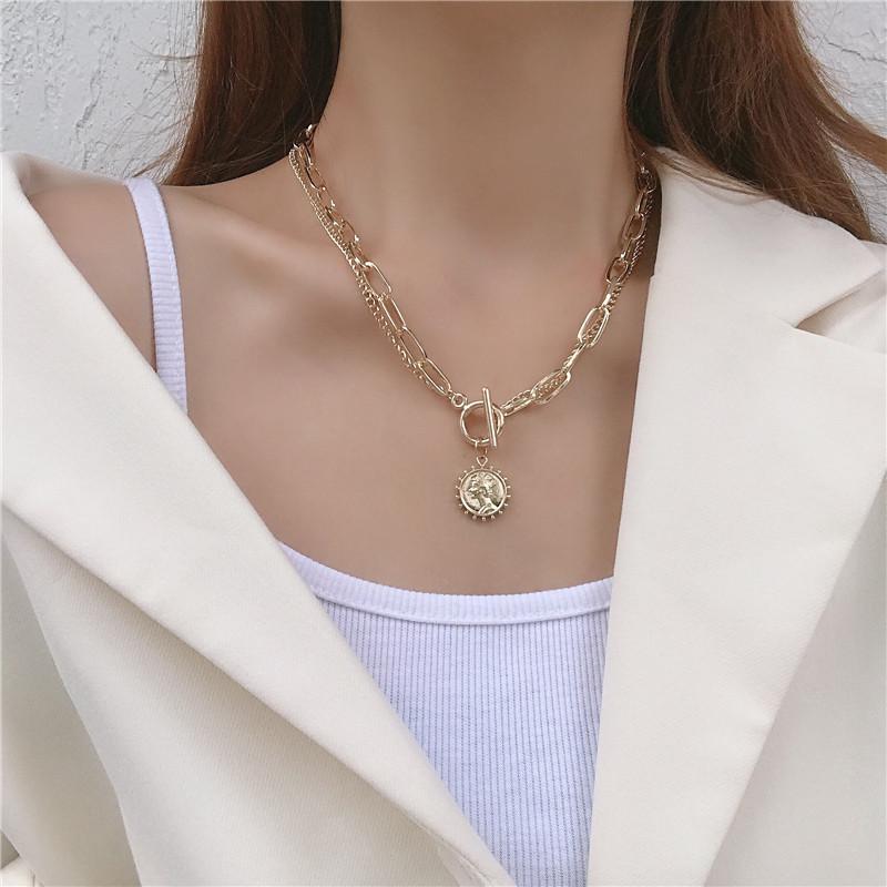 双层项链女锁骨链小众设计ins潮网红冷淡风美人头像2020年脖颈链