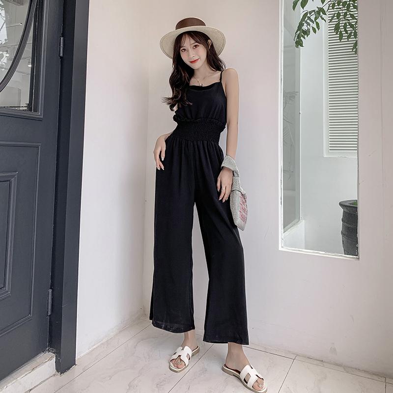 连体裤女初夏新款纯色宽松吊带休闲裤高腰显瘦阔腿裤