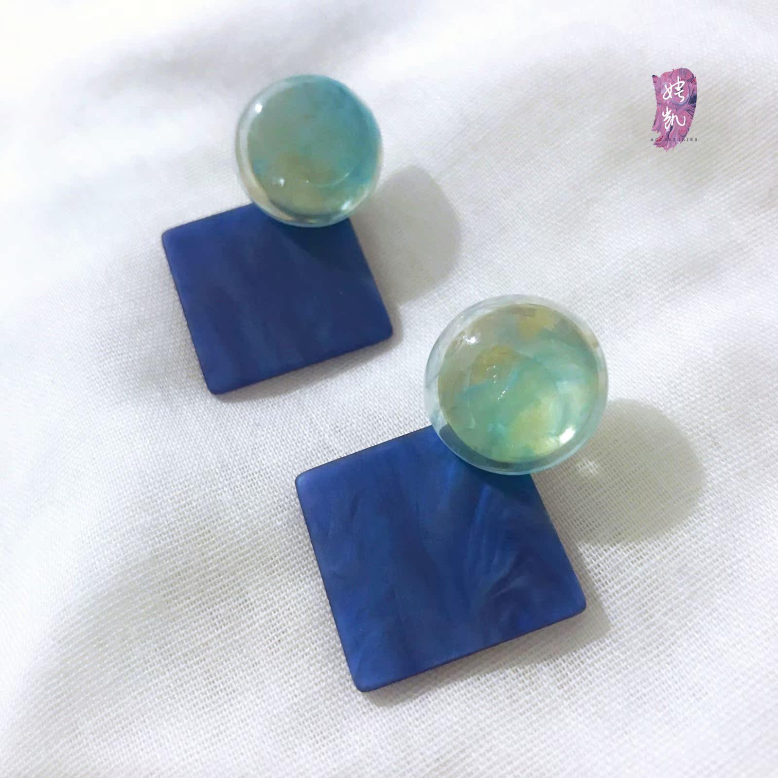 娉凯韩国典雅蓝色圆形方形几何耳钉