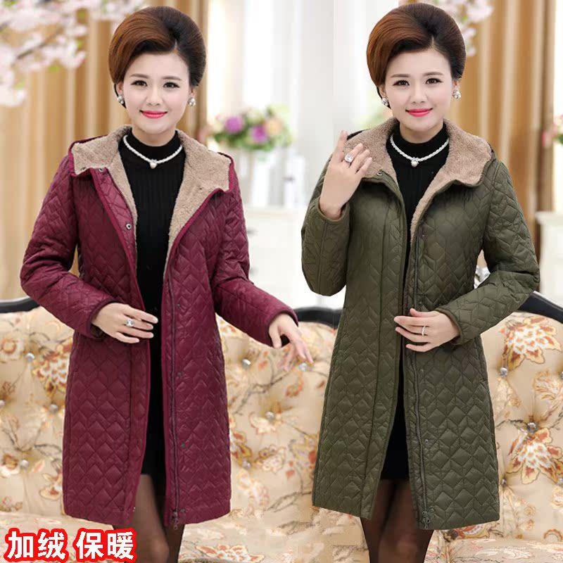 新款女装棉服加绒加厚中老年棉袄女士连帽冬装中年加大码加肥棉衣