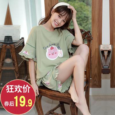 夏季套装短袖女士两件套纯棉睡衣